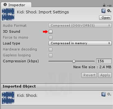 Sound file import settings